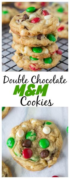 Double Chocolate M&M Cookies – super soft and chewy cookies filled with semi-sweet chocolate, white chocolate, and M&M's!