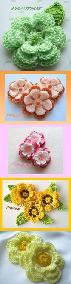 "Вязание крючком Mais [ ""lo ve internet rey"", ""Find and save knitting and crochet schemas, simple recipes, and other ideas collected with love."", ""Patterns for children Yarn Flowers, Knitted Flowers, Crochet Flower Patterns, Crochet Designs, Knitting Patterns, Crochet Diy, Irish Crochet, Crochet Motif, Crochet Crafts"