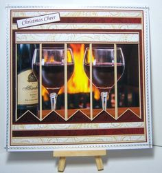 CHRISTMAS CHEER RED WINE Christmas or Birthday 7.5 Quick Card Kit Create Any Name Alphabet in 2 sizes by Katie Silver