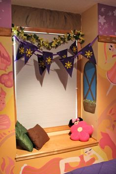 """Tangled inspired room I painted for my younger sister. All rights to """"Tangled"""" belong to disney. Girl Nursery Themes, Bedroom Themes, Home Decor Bedroom, Kids Bedroom, Tangled Room, Rapunzel Room, Disney Home, Disney Diy, Disney Themed Bedrooms"""