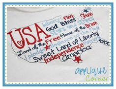 USA Words Applique Design