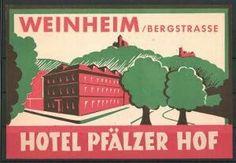 Weinheim, Hotel Pfälzer Hof, Gebäudeansicht Luggage Stickers, Back In The Day, Folk, Movie Posters, Art, Art Background, Popular, Film Poster, Kunst