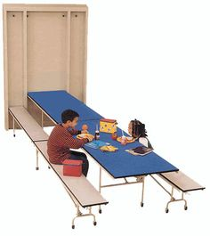 Spring assisted lift and the Triple Lock system make this wall pocket table stand alone for safety and ease of use.