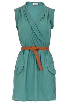 pale teal utility wrap dress with brown leather belt