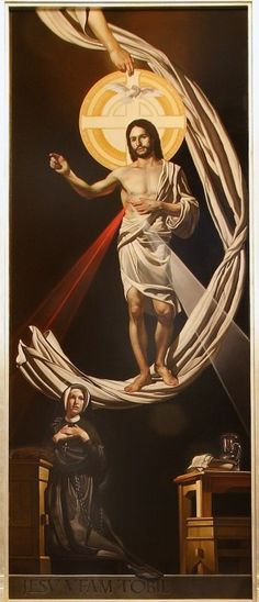 """""""This painting by Noah Buchanan of St. Faustina incorporates the image of Jesus he instructed her to have painted. The red ray proceeding from Jesus' pierced side represents the blood that is the life of souls, the white ray stands for the water that makes souls righteous."""" {quoted from source}"""
