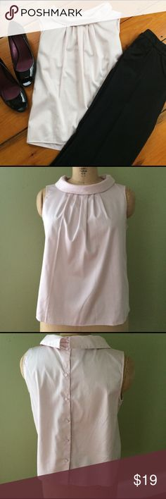 Baby pink shirt - MUSY SEE BACK DETAIL! Sz LP Instantly fell in love with this shirt with buttons down the back. Got it home to discover it's a petite. Blush pink, roll collar, 98% cotton. Never worn. Listing for shirt only. Talbots Tops Blouses
