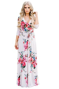 Pink Blooming Flower Print Wrap V Neck Boho Dress Maxi Wrap Dress 29a9505cf0b7