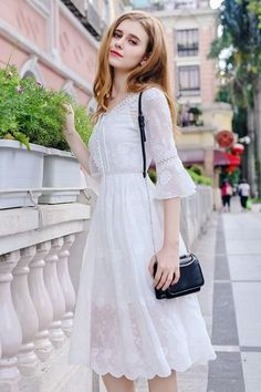 "Universe of goods - Buy ""New Summer Floral Chiffon women Dress V-neck Flared Sleeves Embroidered White Elegant Sweet Perspective Female Midi chic Dress"" for only USD. Lovely Dresses, Simple Dresses, Casual Dresses, Short Dresses, Dresses With Sleeves, White Dress With Sleeves, Edgy Dress, Chic Dress, Dress Up"