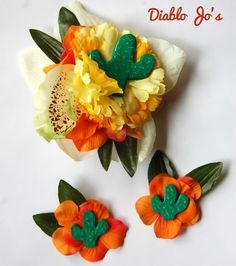 Mexican Cactus hair flower and Matching shoe clips set, Rockabilly, Pin Up, Summer by DiabloJos on Etsy