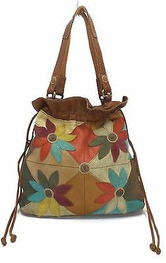 Lucky Brand Leather Patchwork Flower Shoulder Bag Leather Bags Handmade, Leather Craft, Burberry Handbags, Leather Handbags, Bag Pattern Free, Patchwork Bags, Leather Fashion, Bag Making, Purses And Handbags