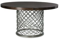 Bernhardt   Hallam Metal Dining Table with Glass Top (54 inch) (336-773/998-054)