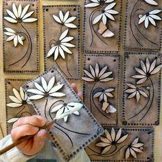 Daisy Tiles by Maggie Betley - Ton Clay Wall Art, Ceramic Wall Art, Ceramic Clay, Ceramic Painting, Clay Art, Hand Built Pottery, Slab Pottery, Ceramic Pottery, Pottery Art