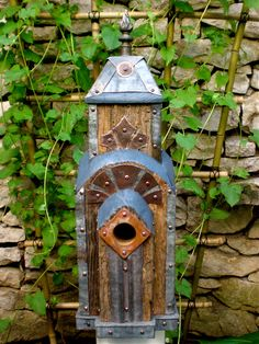 Art Deco Birdhouse Made of Reclaimed Barn Wood and Tin Roofing--(made to order by Roundhouseworks)