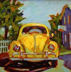 """Daily Paintworks - """"Thats Classic Yellow Volkswagen This was a commission done from a previous painting but the customer wanted a yellow VW. I can do these in any color :D"""" - Original Fine Art for Sale - © Mary Sheehan Winn"""