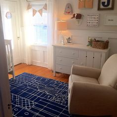 Nursery with Graphic Navy Blue Area Rug