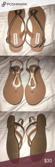 Steve Madden Takeaway Rose Gold Sandals NWT! Never worn! They are too narrow for my really wide feet. The box is in my closet. I will post pic of the box as soon as I can. They are comfy and have excellent reviews. It's just that my feet are really wide. Lovely rose gold color. Steve Madden Shoes Sandals