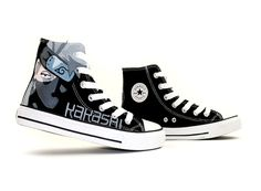 Naruto Kakashi Hatake Themed Custom Hand Painted High-top Canvas, Hand Painted High Shoes, Cosplay Hand Drawing Shoes