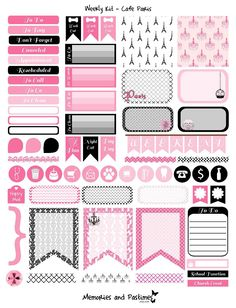 Weekly Kit Planner Sticker Set - Cafe Paris