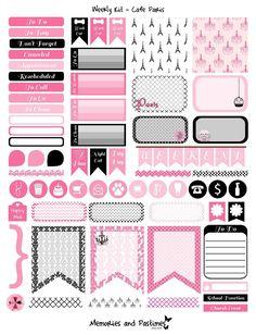 Weekly Kit Planner Sticker Set - Cafe Paris