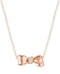 Mimi So mini rose gold bow knot necklace with diamonds. Via Diamonds in the Library.