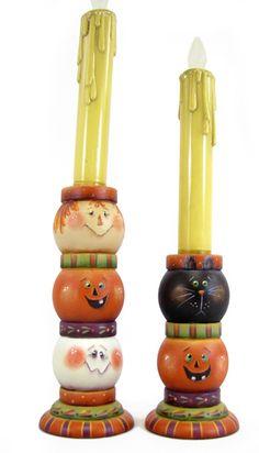 Triple Trouble Pumpkin Candlesticks E-Pattern Halloween Painting, Halloween Trees, Holidays Halloween, Halloween Crafts, Halloween Decorations, Halloween Gourds, Halloween Stuff, Happy Halloween, Candlestick Crafts
