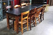 Antique Oak School Science Table with 8 Chairs~Vintage~Rush~Caned~Industrial