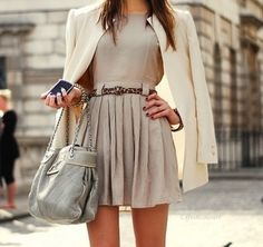 #fashion #inspiration #streetstyle #summer #springtrends #love #neutrals #skirt #jacket #belt #pleats