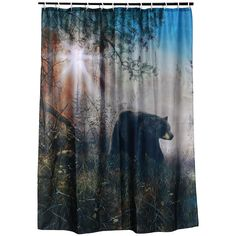 """Designer quality, brightly colored, washable fabric shower curtain, """"Shadow In The Mist - by Jim Hansel"""" black bear artwork. Matching shower rings included. Dimensions: 70"""" H x 72"""" W Shipping weight:"""