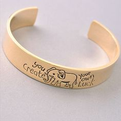 "Gold ""Create Your Own Luck"" Cuff 15% off bundles! Jewelry Bracelets"