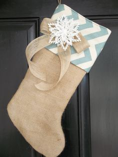 Burlap and Village Blue Chevron Christmas Stocking with snowflake , personalized stocking, christmas decor, cottage stocking by on Etsy Burlap Christmas, Noel Christmas, Little Christmas, Christmas Projects, Winter Christmas, Holiday Crafts, Holiday Fun, Christmas Decorations, Chevron Christmas