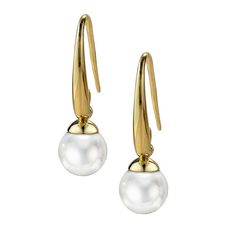 18k Gold Plated Sculpted Hook Pearl Earring - White | JOIA De Majorca