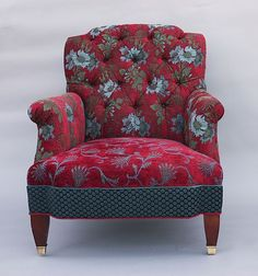 Chelsea Chair in Red Wine: Mary Lynn O'Shea: Upholstered Chair - Artful Home - artist's own jacquard fabric - gorgeous! Funky Furniture, Classic Furniture, Unique Furniture, Furniture Ideas, Funky Chairs, Cool Chairs, Poltrona Bergere, Upholstered Furniture, Sweet Home