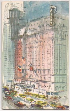 New York City Postcard HOTEL ASTOR, Artist's Watercolor View 1959 NYC Cancel