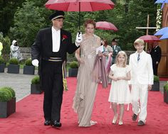 Princess Alexandra zu Sayn-Wittgenstein-Berleburg (2nd-L) with Countess Ingrid and Earl Richard attend the wedding of Princess Nathalie zu Sayn-Wittgenstein-Berleburg and Alexander Johannsmann at the evangelic Stadtkirche on June 18, 2011 in Bad Berleburg, Germany.