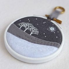 """Hand-embroidered Winter Landscape with Trees in 3"""" Painted Wooden Hoop £17.50"""