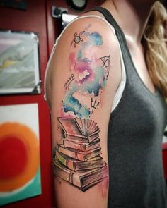 Watercolor books and ish Books allow our mind to travel And travel broadens the mind Bookish Tattoos, Harry Potter Tattoos, Literary Tattoos, Diy Tattoo, Tattoo Fonts, Tattoo Script, Hamsa Tattoo, Tattoos Skull, Body Art Tattoos
