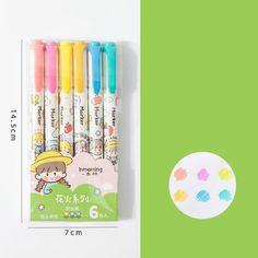 6PC Kawaii Girls Highlighter Pen Set - Green set