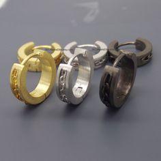 18 Gauge 16 14 Hoop Earrings For Men Medium Cartilage Piercing Chain Inlay E149 Custom