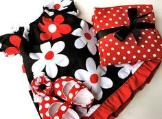 Baby Girl dress ensemble...dress, shoes, burp cloth and bow