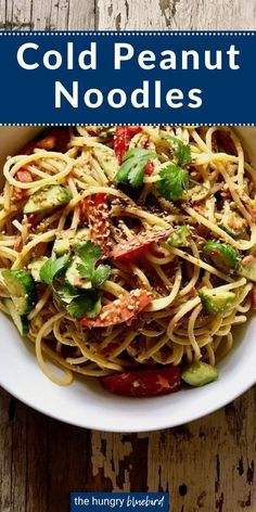 These noodles are a refreshing dish for hot summer days. They're cold noodles tossed with a delicious and tangy peanut sauce then fresh veggies are added for a crunch. Asian Noodle Recipes, Asian Dinner Recipes, Easy Asian Recipes, Egg Roll Recipes, Pork Recipes, Pasta Recipes, Cooking Recipes, Cold Peanut Noodles, Cold Noodles