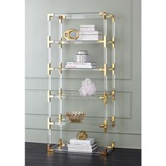online shopping for Hanna 70 Clear Acrylic Gold Open Bookcase - 55 Downing Street from top store. See new offer for Hanna 70 Clear Acrylic Gold Open Bookcase - 55 Downing Street Acrylic Bookcase, Gold Bookshelf, Gold Shelves, Open Bookcase, Open Shelving, Adjustable Shelving, Bookshelves, Drawer Bookshelf, Bookshelf Ideas