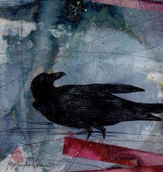 Crow  Original Mixed Media Collage Art