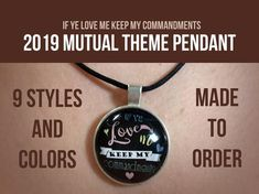Young Women Theme Pendant w/ leather cord- If ye love me keep my commandments - 2019 mutual theme lds If Ye Love Me, My Love, Birthday Woman, Birthday Gifts, Girls Camp, New Beginnings, Leather Cord, Young Women, Lds