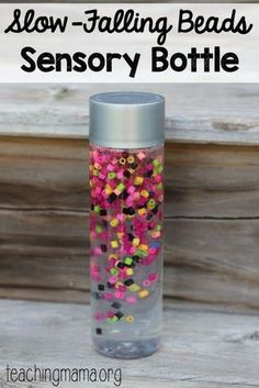 Slow-Falling beads sensory bottle - such a pretty idea!Tap the link to check out great fidgets and sensory toys. Check back often for sales and new items. Happy Hands make Happy People! Sensory Boards, Sensory Table, Sensory Bins, Sensory Activities, Infant Activities, Sensory Play, Activities For Kids, Crafts For Kids, Learning Activities