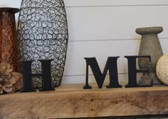 """HOME: Interchangeable Unfinished Home Letter Set - """"H M E"""" Letters Only - """"O"""" Inserts Are Sold Separately by StealMyLove on Etsy https://www.etsy.com/listing/268368497/home-interchangeable-unfinished-home"""