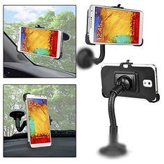 SHEENROAD Car Windshield Suction Mount Holder for SamsungGalaxy Note 3 III N9000 N9002 N9005. Color: Black Use the car with a windshield mount for your Samsung Galaxy Note 3 III N9000 N9002 N9005 Using the suction cup, adjustable side-grip support arms and a flexible gooseneck pedestal, users can safely and securely attach Tilts and rotates 360 degrees It can be adjusted to any angle for easy viewing Arm Length:150mm Package Included: 1x Car Mount Holder (Accessory Only ,Phone not included).