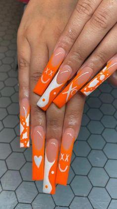 Orange Acrylic Nails, Long Square Acrylic Nails, Bling Acrylic Nails, Acrylic Nails Coffin Short, Best Acrylic Nails, Coffin Nails, Summer Acrylic Nails, Long Stiletto Nails, Orange Nails