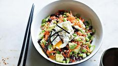 Adzuki bean, brown rice and edamame sushi salad with poached egg