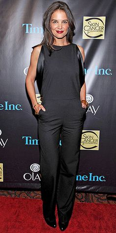 Katie Holmes stuns in a simple & sleek jumpsuit at the 2014 Skin Cancer Foundation Gala in N.Y.C. #Redcarpet #style