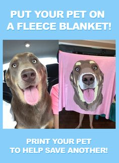 These custom pet blankets are SO EXTRA! Print Your Pet and help save another! PrintYourPet.com and print your pet on socks, blanket, phone cases, totes, pillows and much more! Just upload an image and our artist will handle the rest!